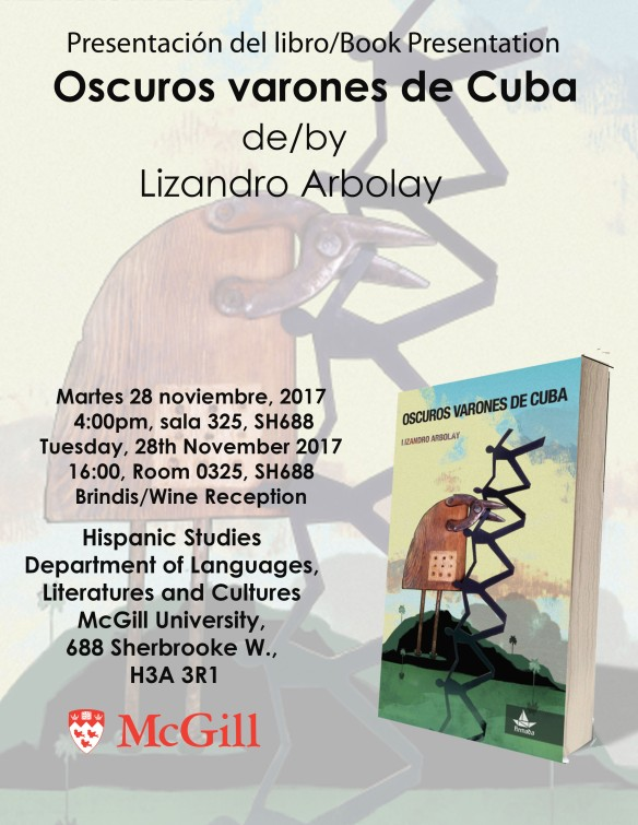 Presentation Oscuros varones de Cuba at McGill Nov 28